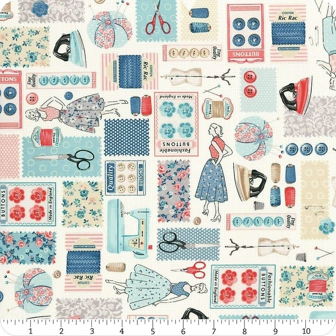 Makower's Stitch in Time Collection included in Sew Darn Sweets June Box