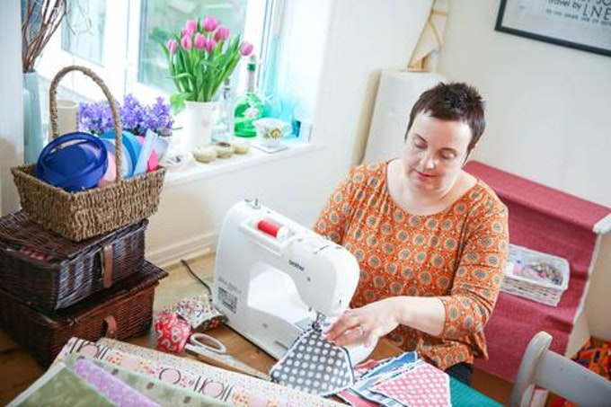 Ellie with her sewing subscription box