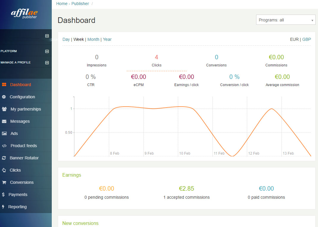The Affilae Dashboard